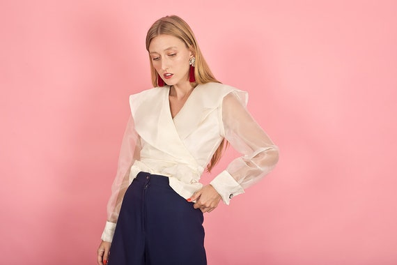 80s Off White Shimmery Statement Collar Top Vinta… - image 7