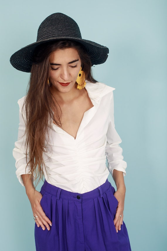 80s Off White Formal Collar Blouse Vintage Statem… - image 5
