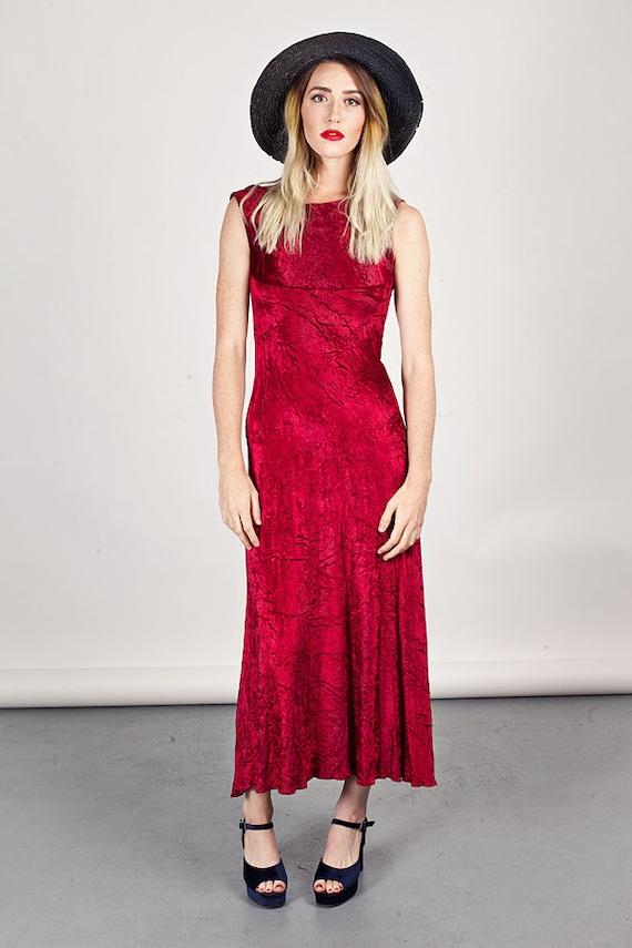 70s Red Wine Velvet Dress Vintage Crushed Velvet L