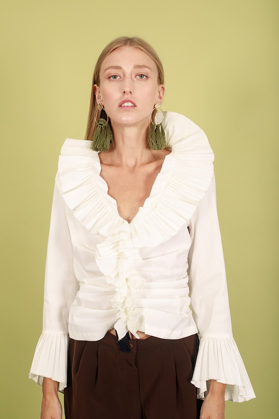 80s Off White Accordion Blouse Vintage Statement … - image 5