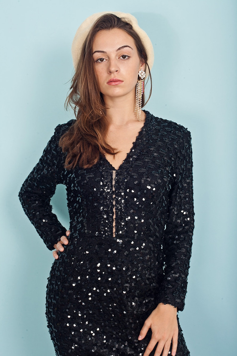 70s Black Sequin Cocktail Dress Vintage Long Sleeve Fitted Night Dress