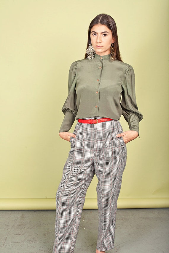 80s Plaid High Waisted Pants Vintage Black Red Tr… - image 2