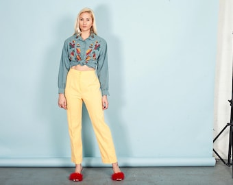 70s Yellow High Rise Pants Vintage Bright Pocket Trousers