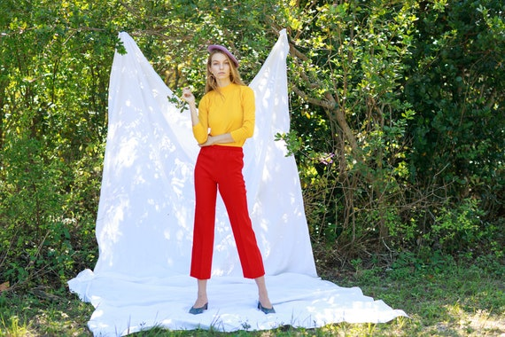 60s Apple Red High Waisted Trousers Vintage Knit … - image 3
