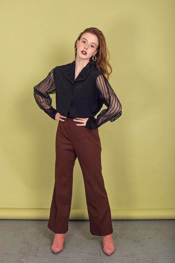 70s Dark Brown Knit Pants Vintage High Waisted Pa… - image 2