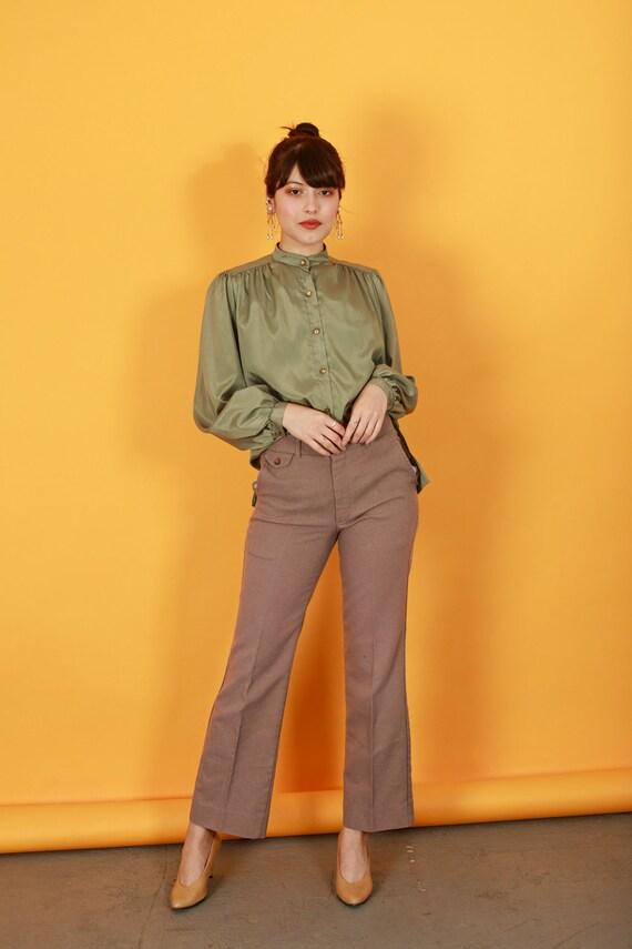 70s Khaki Flared Knit Pants Vintage Beige High Wa… - image 6
