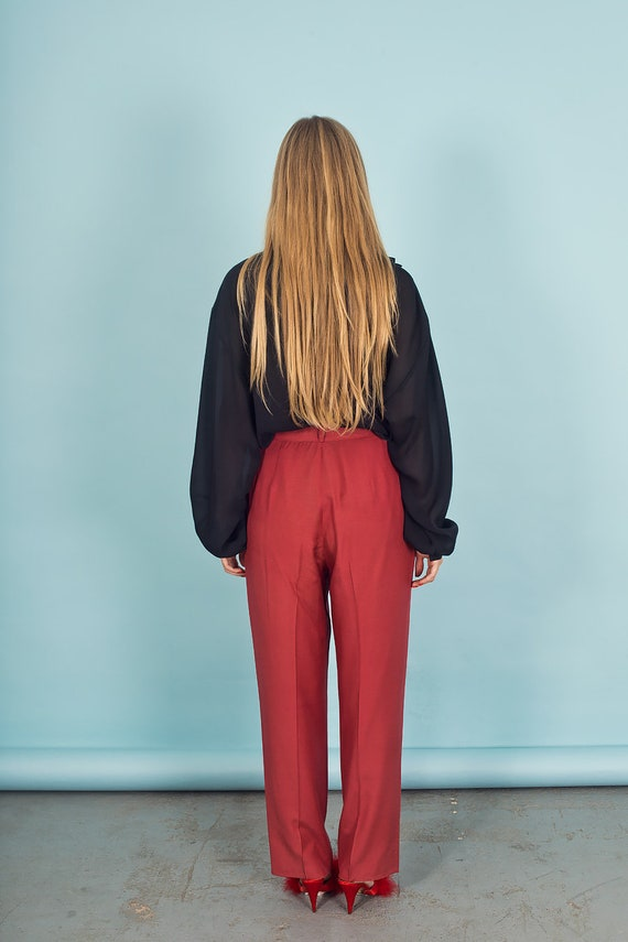 80s Rose Red Silk Textured Pants Vintage Linen Mi… - image 8
