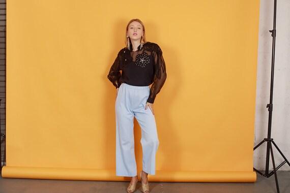 70s Pastel Blue Knit Trousers Vintage Light Textu… - image 6