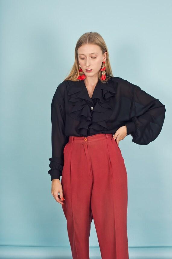 80s Rose Red Silk Textured Pants Vintage Linen Mi… - image 2