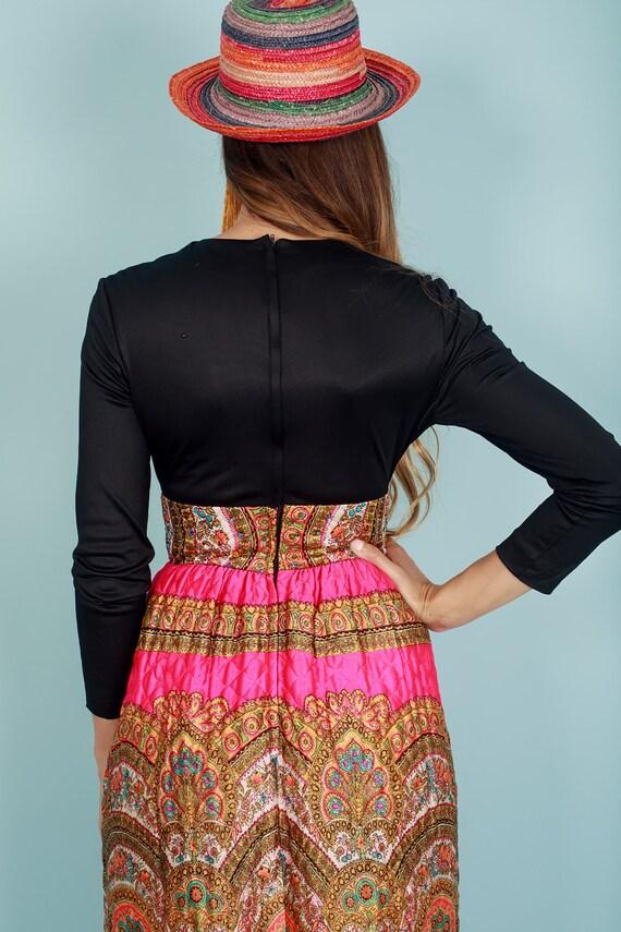 60s Quilt Dress Colorful Vintage Paisley Print Rh… - image 9