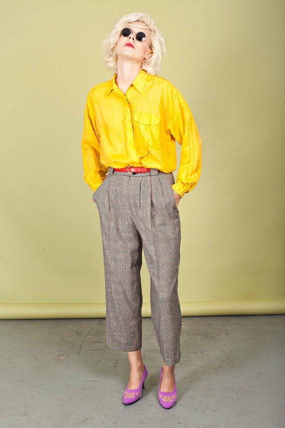 80s Plaid Black Tapered Pants Vintage Wool Petite… - image 1