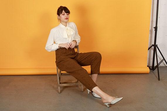 80s Brown Orange Plaid Pants Vintage Houndstooth … - image 3