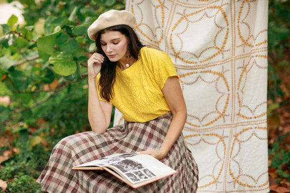 80s Bright Yellow Eyelet Cotton Blouse Vintage Sh… - image 3