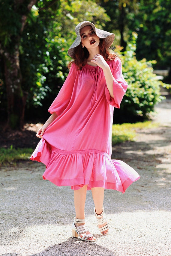 70s Fuschia Tent Dress Vintage Bohemian Smocked Su