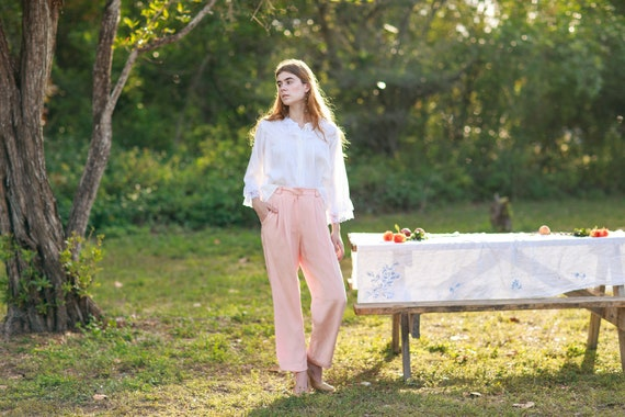 80s Pink Soft Rose Silk Trousers Vintage Pastel S… - image 1