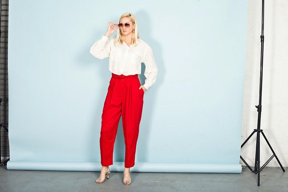 80s Bright Red Formal Pants Vintage Rayon High Ris