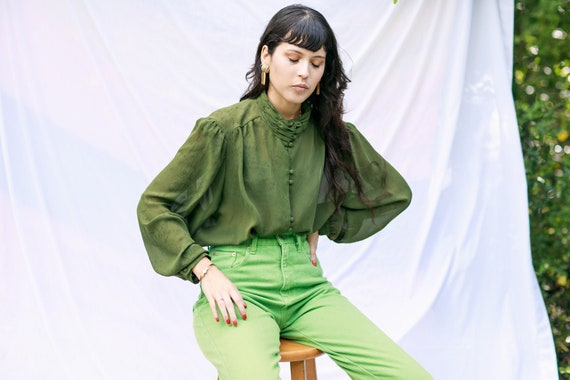70s Olive Green High Collar Top Vintage Statement… - image 1