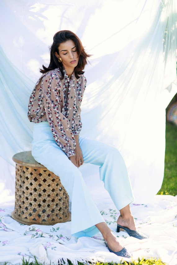60s Blue Knit Flared Pants Vintage Pastel High Wa… - image 4
