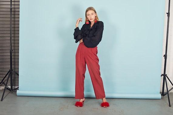 80s Rose Red Silk Textured Pants Vintage Linen Mi… - image 5