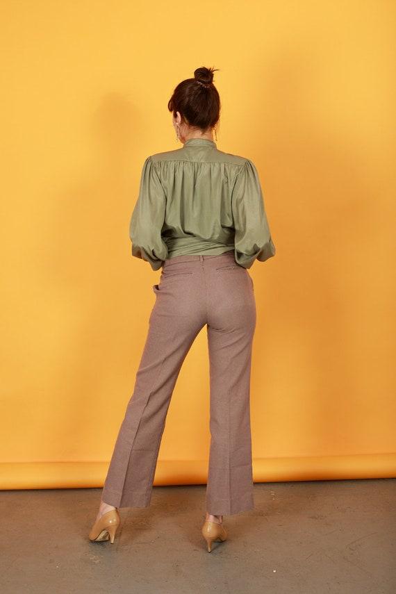 70s Khaki Flared Knit Pants Vintage Beige High Wa… - image 8
