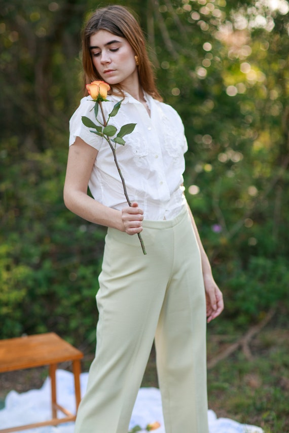 60s Pale Green Knit Trousers Vintage Mid Waist Te… - image 6