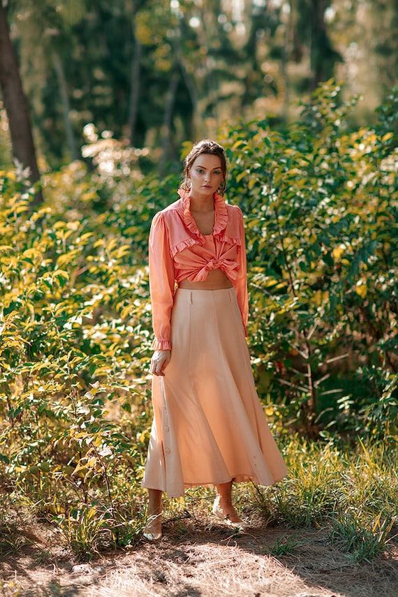 70s Peach Ruffle Collar Blouse Vintage Coral Cott… - image 7