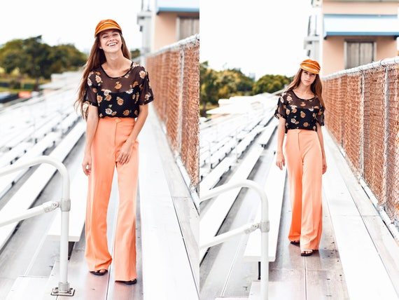 70s Coral High Waisted Pants Vintage Peach Knit W… - image 6