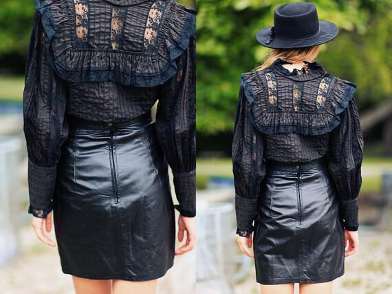 80s Leather Skirt Vintage Black High Waisted Fitt… - image 5