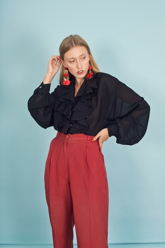 80s Rose Red Silk Textured Pants Vintage Linen Mi… - image 4