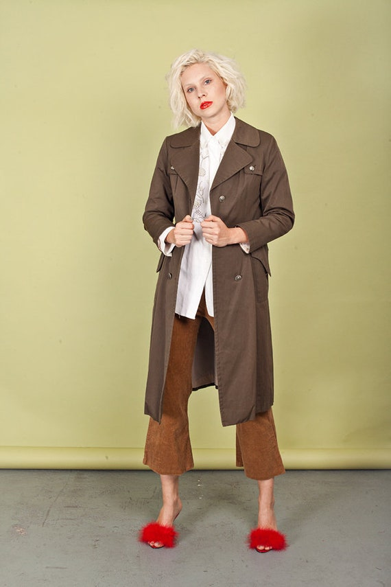 70s Tan Long Raincoat Vintage Olive Green Button P