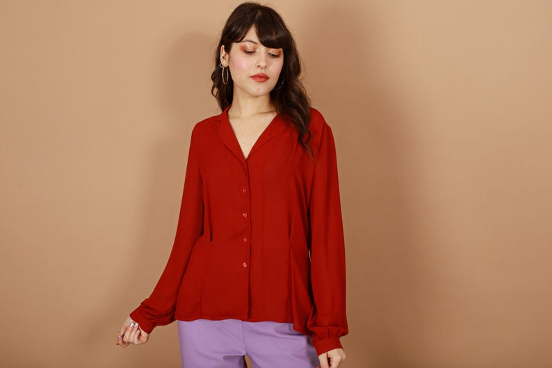 70s Rusty Red Long Sleeve Top Vintage Fitted Collar Blouse