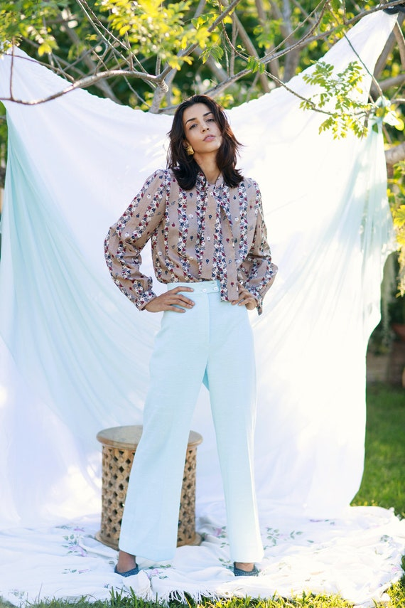 60s Blue Knit Flared Pants Vintage Pastel High Wa… - image 3