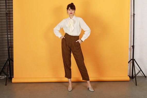 80s Brown Orange Plaid Pants Vintage Houndstooth … - image 1