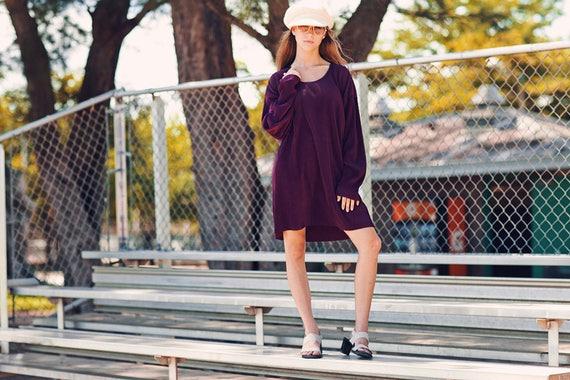 80s Plum Slouchy Long Dress Vintage Purple Long Sl
