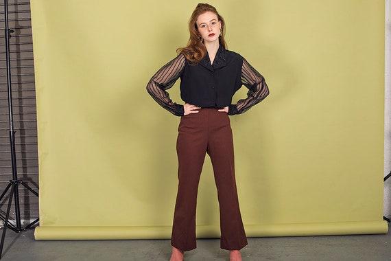 70s Dark Brown Knit Pants Vintage High Waisted Pa… - image 6