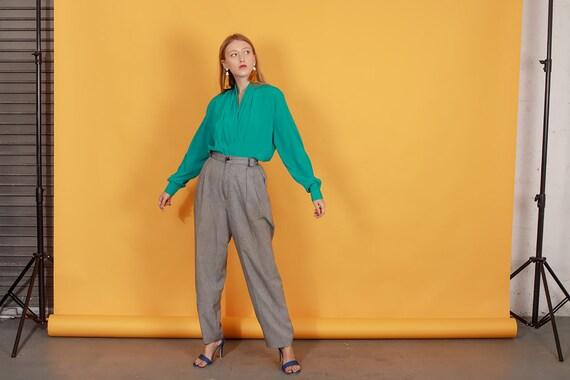 80s Grey Plaid Belted Trousers Vintage Black Slou… - image 5