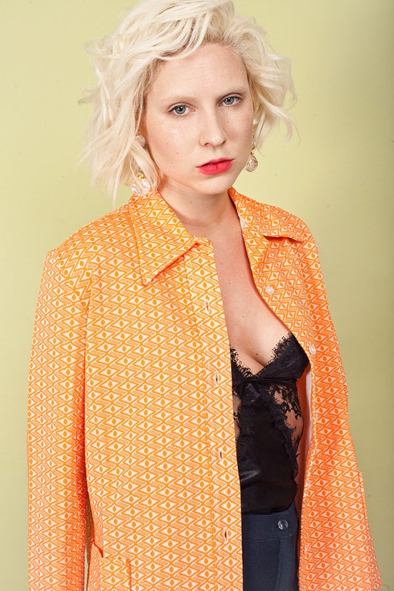 60s Orange Printed Knit Top Vintage Collar Knitte… - image 3