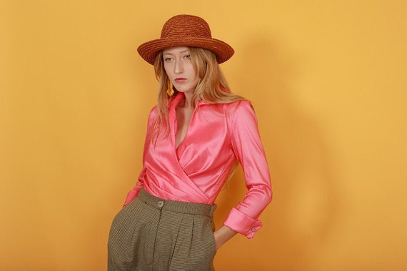 80s Pink Coral Statement Shimmer Blouse Vintage Wr