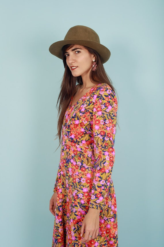60s Botanical Dress Vintage Flower Print Long Sle… - image 8