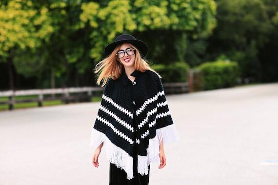 60s Fringe Poncho Vintage Black White Striped Knit
