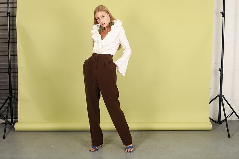 80s Brown Silky Pocket Trousers Vintage Dark Straight Leg Pants