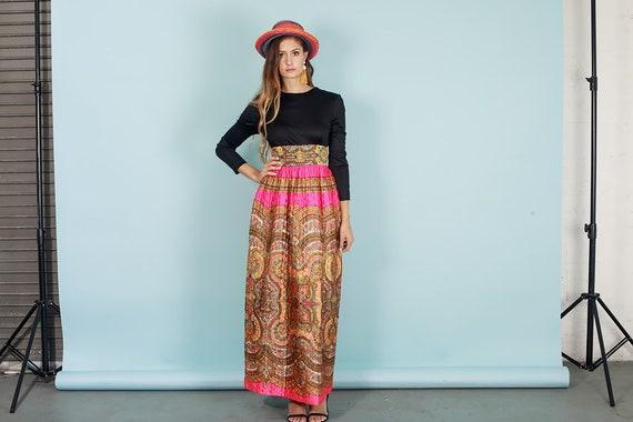 60s Quilt Dress Colorful Vintage Paisley Print Rh… - image 3