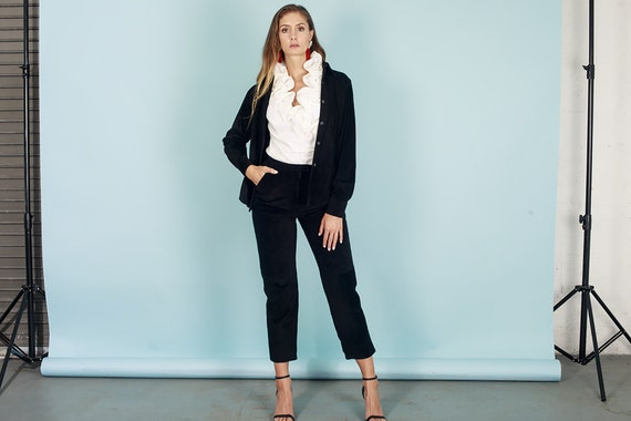 80s Black Suede Long Sleeve High Waisted Suit Vint