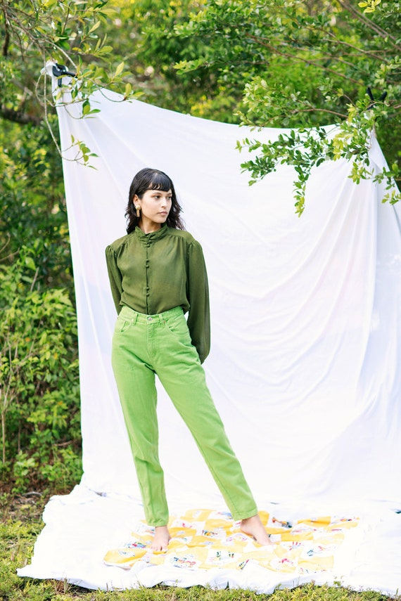 70s Olive Green High Collar Top Vintage Statement… - image 6