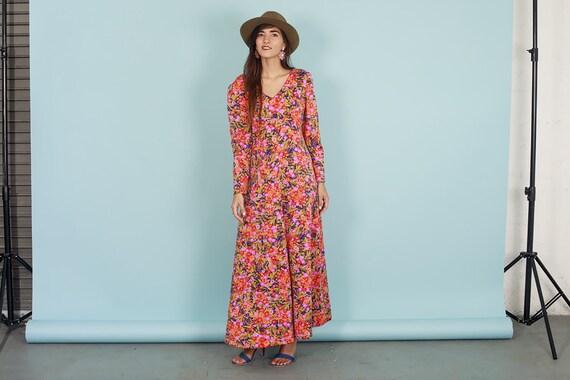 60s Botanical Dress Vintage Flower Print Long Sle… - image 3