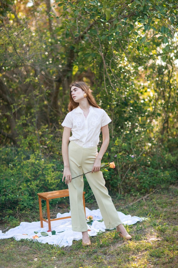60s Pale Green Knit Trousers Vintage Mid Waist Te… - image 2