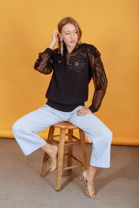 70s Pastel Blue Knit Trousers Vintage Light Textu… - image 5
