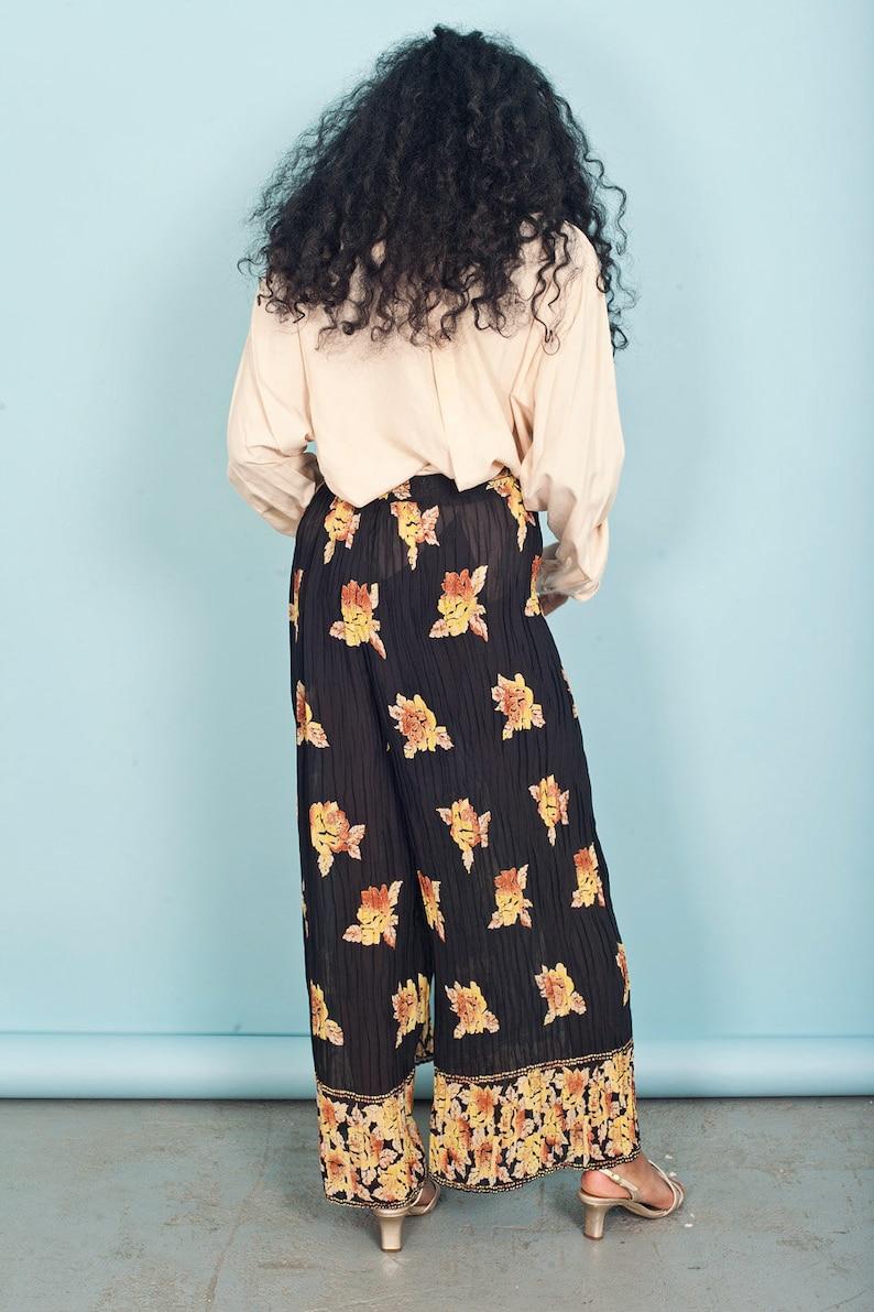 80s Black Floral Sheer Pants Vintage High Waisted Pleat Wide Leg Pants