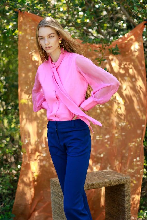 60s Dark Navy Blue Knit Pattern Trousers Vintage … - image 2