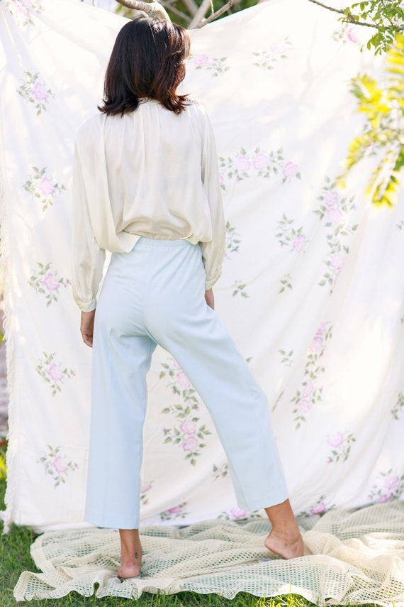 70s Light Blue Soft Knit Trousers Vintage Straigh… - image 8